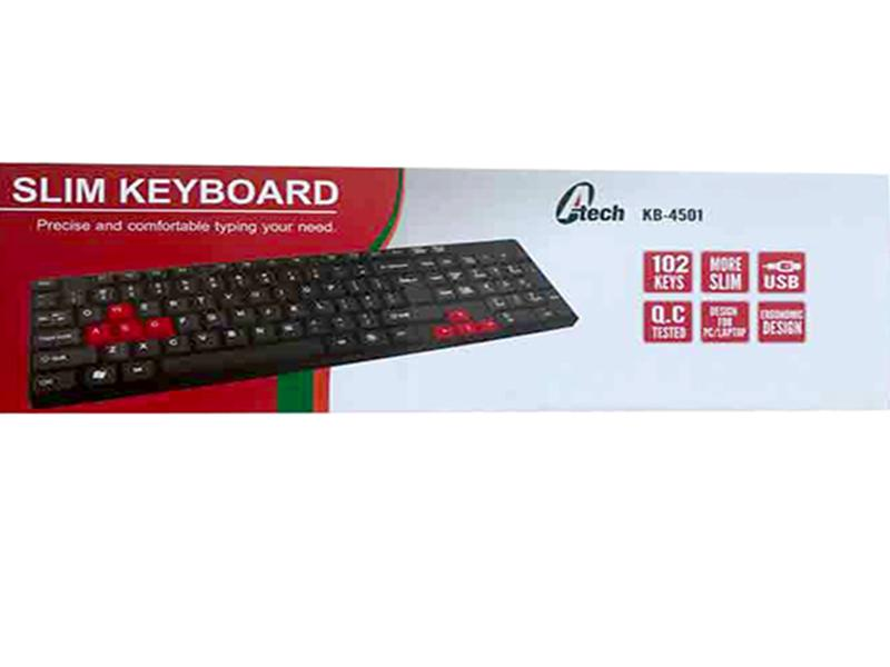 A-TECH PRO USB STANDARD KEYBORD THREE LANGUAGES  -JY-520BLTT